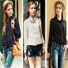 Women Shirt Polka Dots Chiffon Vintage Blouse Long Sleeve 3Color 3Size
