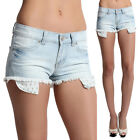 TheMogan Cross Print Drop Pocket CUT OFF DENIM SHORTS with Light Wash Jean