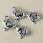 20 Tibetan Silver samll glass Charm Pendants for necklace DIY Bracelet Pendants