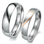 Couple Heart Shape Matching Stainless Steel Lovers Promise Wedding Bands Ring J