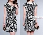 NEW Elegant Short Sleeve Dress Zebra-stripe Knit Mini Dress XS~XL #3263A