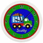 DUMP TRUCK NURSERY WALL CLOCK NURSERY DECOR BOYS BEDROOM GIFT RED BLUE GREEN