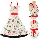 Hot Retro Cherry Print 50s Halter Housewife Dress Swing Prom Party EVENING Dress