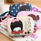 LO Cute Japanese Girl Print Canvas Phone Bag Double Zipper Purse Coin Bag