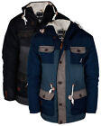 Mens Jacket Padded Kangol Hooded Fleece Lined Elbow Patches Puffer Winter Jacket