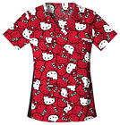 Hello Kitty Faces Cherokee Tooniforms V Neck Knit Panel Scrub Top 6732c HKFA