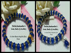 6 x 8mm SAPPHIRE BLUE ABACUS BEADS STRETCH BRACELET ~ SILVER OR GOLD SPACERS