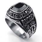 316L Stainless Steel Titanium Antique Retro USMC Rock N' Roll Punk Ring M073401