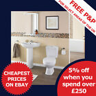 Bathroom WC Toilet, Cistern, Basin Sink and pedestal 4 Piece Pottery Suite Sets
