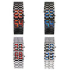 Women Men Lava Iron Samurai LED Digital Faceless Metal Bracelet Wrist Watch Gift