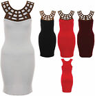 NEW LADIES SLEEVELESS FANCY GOLD NECK STRETCHY FLAPPER BODYCON DRESS SIZES 8 -14