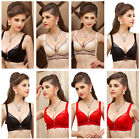 3/4 Cup Solid Girl Women Cup B Embroidery Lace Push Up Underwear Racerback Bras