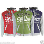 Mens Campus San Diego Athletic Dept California Hooded Patch Fleece Jacket Coat