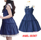 J467 BLACK BLUE COTTON DRESS BOW LAPEL HIGH WAIST LARGE CIRCLE LACE UP LOLITA