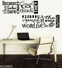 """Because The Ones..."" STEVE JOBS Wall Quotes Deco,Wall Stickers,Wall Decals w159"