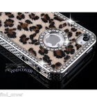 iPHONE 5S 5 4S 4 CASE - CRYSTAL DIAMOND LEOPARD FUR ALUMINIUM BACK COVER
