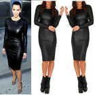 Womens Celeb PVC Wet Look Long Sleeve Faux leather Bodycon Stretch Midi Dress