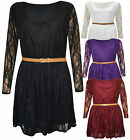 New Womens Plus Size Belted Floral Lace Shift Long Sleeve Skater Dress 16-26