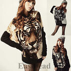 New Tiger Printed Batwing Women Knitted Tops Long Sleeve Pullover Sweater Jumper