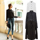 Women Chiffon Shirt Polka Dot Blouse Long Sleeve Loose Tops Casual Vintage