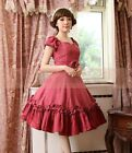 J640 black peach tiered layered Lolita dress cosplay short sleeves gothic