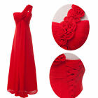 ^_^ One Shoulder Long Red Evening Wedding Bridesmaids Chiffon Party Prom Dress