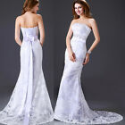 New StockSize White Lace Wedding Party Dress Prom Bridal Gown SZ 6-8-10-12-14-16