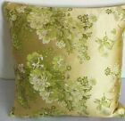 Cushion Cover Green Tone off Gold w Green Floral Custom Made, Chinese Brocade