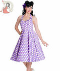 HELL BUNNY 50's MARIAM polka dot DRESS LAVENDER PURPLE