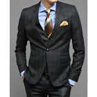 New for mens Premium Dress 1-BUTTON SUITS NAVY CHECK 38R size 3piece set -656