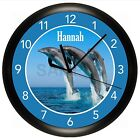 DOLPHIN WALL CLOCK PERSONALIZED GIFT WALL DECOR ART FISH OCEAN BEACH HOUSE