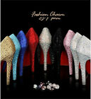 Women Top Quality Bling Crystal Pumps Platform High Heel Wedding Shoes Stiletto