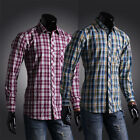 SALE FOR New Mens Men's Casual Long Sleeve Formal Dress Plaids Fitted Shirts