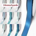 "Double Faced Satin Ribbon 3/4"" /19mm. 5 Yards/ ,lot Blue s #303 to #350 for bow"