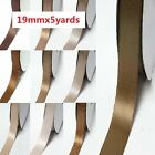 """Double Faced Satin Ribbon 3/4"""" /19mm Wedding 5 Yards Ivory to Brown for bow"""