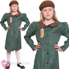 EVACUEE GIRL COSTUME 1940'S WW2 FANCY DRESS COAT AND BERET HAT RAILWAY CHILDREN