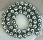 8mm Natural Pyrite Round Beads 15.5""