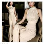 Fashion Womens Lace Sleeveless Jumpsuit Career High Waist Wide Leg Long Pants
