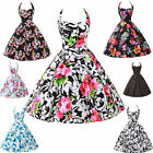 LADIES VINTAGE 50S 60S FLORAL ROCKABILLY PARTY SWING PROM EVENING DRESS 7COLORS