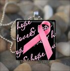 BREAST CANCER AWARENESS PINK RIBBON HOPE LOVE GLASS PENDANT NECKLACE KEYRING