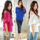 Women's Sexy Casual Short Sleeve OFF-Shoulder Loose Tops T-Shirt Stretch Blouse
