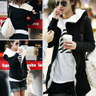 Womens Winter Thick Casual Jumper Coats Jackets Black Grey Hoody Warm Cardigan