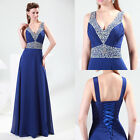 Sexy Bead V Long Ball Gown Wedding Evening Party Prom Dress Formal Maxi Dresses