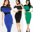 New Fashion Occident Ladies Crew Neck Slim Fit Short Sleeve Splicing GK Dress