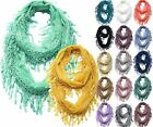Lace Infinity Scarf with Long Fringe