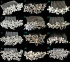WEDDING BRIDAL PEARL & CRYSTAL RHINESTONE HAIR COMB SLIDE CLIP - UK STOCK