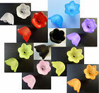 50 FROSTED ACRYLIC/LUCITE SMALL BELL/CUP FLOWER BEADS 10mm-CHOICE OF COLOURS