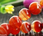 (10mm-4mm) Natural AAA+++ Red Stripe Agate Onyx Round Gemstones Loose Beads 15""