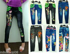 Kinder Leggings Leggins Jeggings Sport Hose Jeans Optik Stretch 98 bis 128