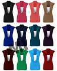Womens Sleeveless Cowl Scoop Neck Top Ladies Gathered Long Vest  Plus  Size 8-22